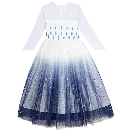 O.AMBW Vestido de Princesa para niñas 2-10 años Cosplay Elsa Frozen Vestido Blanco Azul Marino Cielo Nocturno Lentejuelas Regalo de cumpleaños Disfraces para Ninas Frozen 2 Fans