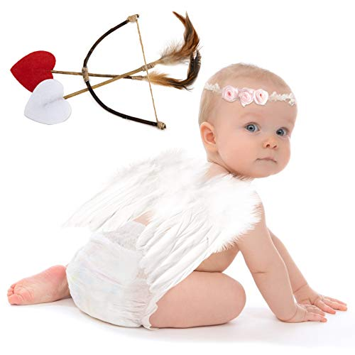 Baby Wings, Newborn Baby Lovely White Feather Angel Wings with Headband Bow...