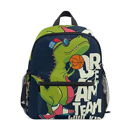 Mochila Escolar pequeña con diseño de Dinosaurio Verde con Baloncesto para niña, niña, niña, niña, niño, Mochila de Viaje, Bolsa de Viaje para Estudiantes de Primaria