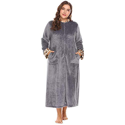 HUAHUA HOMEWEAR Tamaño de las mujeres ropa de dormir además los albornoces de felpa suave y cálida Fleece albornoces collar del soporte de ajuste media cremallera Bata Bata Homewear, azul, XXL Vendaje