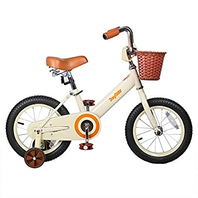 JOYSTAR Vintage 12 & 14 & 16 Inch Kids Bike with Basket & Training Wheels for 2-7 Years Old Girls & Boys (Ivory & Pink) from