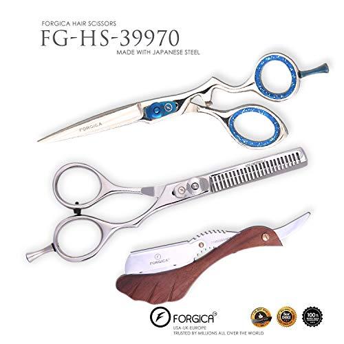 Forgica - Tijeras de corte de pelo con punta fina ajustable de acero inoxidable japonés, desmontable