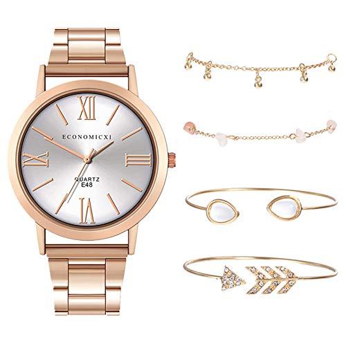 Damen Armbanduhr mit 4 Stück Armreif Armbänder Business Quarzuhr Anzug Mode Quarz Uhr Frauenuhren Damenaccessoires Geschenk für Frauen