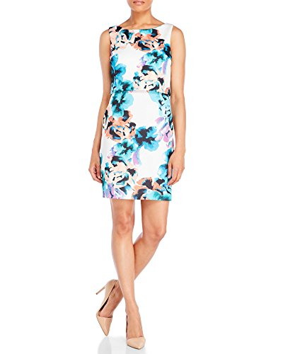 Ivanka Trump Women's Floral White Pop-over Artistic Sheath Dress