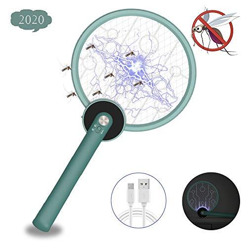 LWWOZL Elektrische Fliegenklatsche USB Klappbar Fliegenfänger Insektenvernichter Innen Insekten Mörder Wiederaufladbar 3-Schicht Mesh Schutz für Drinnen DraußenGreen