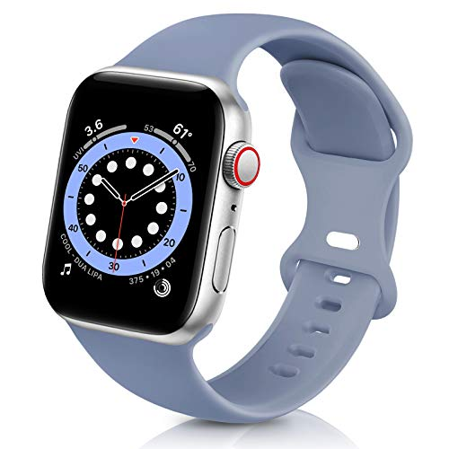 ZALAVER Bands Compatible with Apple Watch Band 38mm 40mm 42mm 44mm, Soft Silicone Sport Replacement Band Compatible with iWatch Series 6 5 4 3 2 1 Women Men Lavender Grey 42mm/44mm S/M