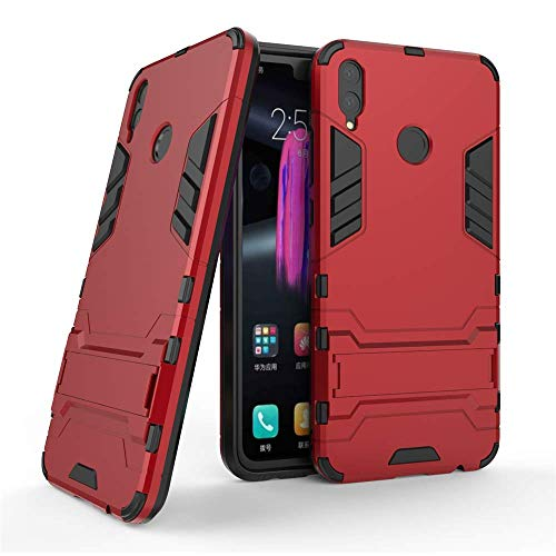 Huawei Honor 8X Hülle, MHHQ Hybrid 2in1 TPU+PC Schutzhülle Rugged Armor Case Cover Dual Layer Bumper Backcover mit Ständer für Huawei Honor 8X -Red - 2