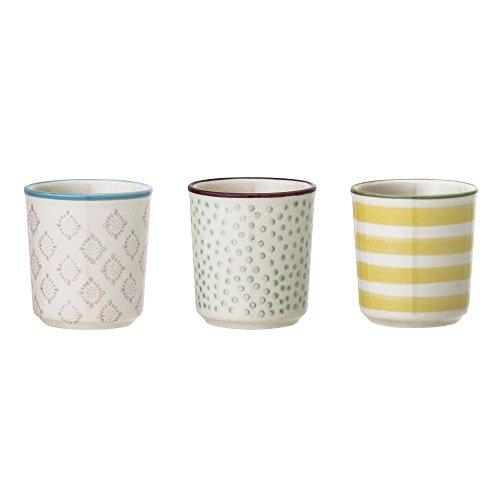 Bloomingville Eierbecher Patrizia, rosa grün gelb, Keramik, 3er Set