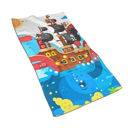 JULOE Kraken Sea Monster and Sinks Diseño de Barcos Toallas de Cocina Planas-Paños de Cocina Toallas Deportivas de Secado rápido, Toallas para el Cabello 27.5X15.7in