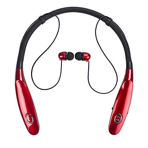 TLgf Wireless Bluetooth-Headset, leichtes Stereo, 20 Stunden Wiedergabezeit, IPX4 wasserdicht, Hals montierte Sportkopfhörer mit eingebauter Rauschreduzierung Mikrofon,Rot