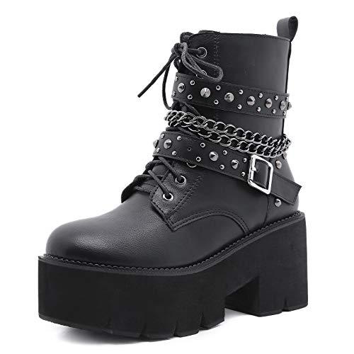 MeiLuSi Botas góticas de plataforma para mujer con tacón grueso y cadena de botines cortos con cordones y tachuelas de motocicleta punk, 4 negro, 37 EU
