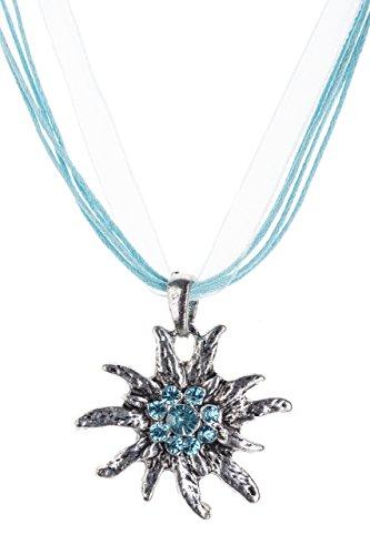 Trachtenkette Edelweiss Trachtenschmuck - Trachten Kette mit feinem Strass in div. Farben - Halskette für Dirndl und Lederhosen (Türkis)
