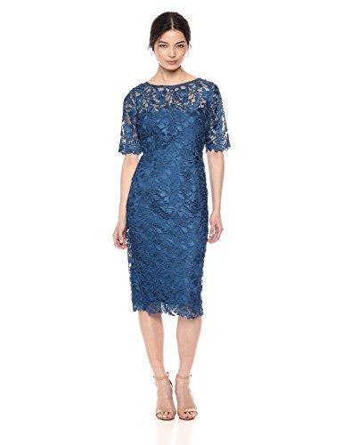 Adrianna Papell Women's Gardenia Guipure Short Dress, Night Flight, 2 (Apparel)