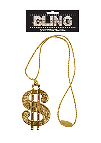 DOLLAR SIGN GOLD COLOURED NECKLACE GANGSTER PIMP FANCY DRESS CHAIN 70'S...