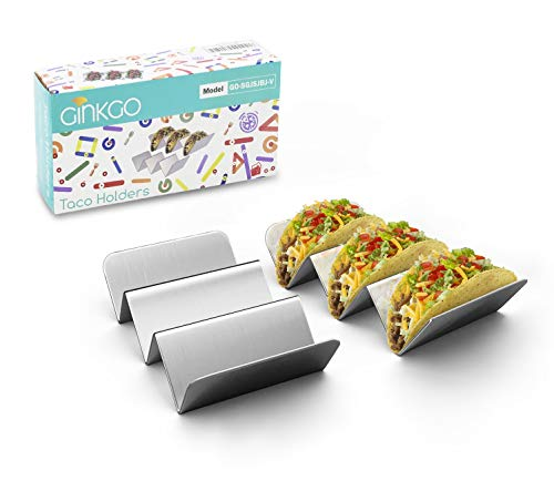 GINKGO Taco Holders, Stainless Steel Taco Holder Stands Set of 2, Each Taco Stand Rack Holds Up 2 to...