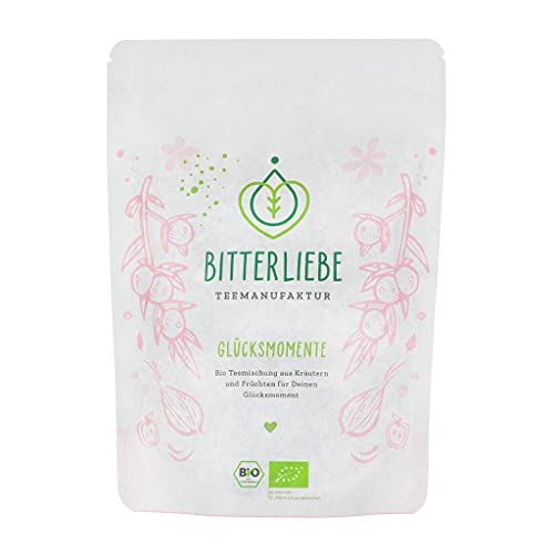 BitterLiebe® Teemanufaktur Glücksmomente Bio Kräutertee lose mit der Kraft der Bitterstoffe I Bitterkräuter, Zitronengras, Pfefferminze uvm. I ca. 70 Tassen (130g)
