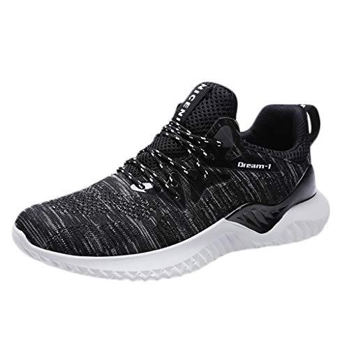 Skxinn Herren Sportschuhe Sport Laufschuhe Outdoorschuhe Turnschuhe Sneakers Leichte Schuhe Bequem Ultra-Light Joggingschuhe Mesh Tuch Sport Freizeitschuhe(Schwarz-A,42 EU)