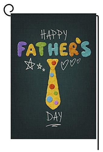 RDXX Corbata para el día del Padre Bandera de jardín pequeña Vertical de Doble Cara 12.5 x 18 Pulgadas Patio de arpillera Colorida Decoración para Exteriores