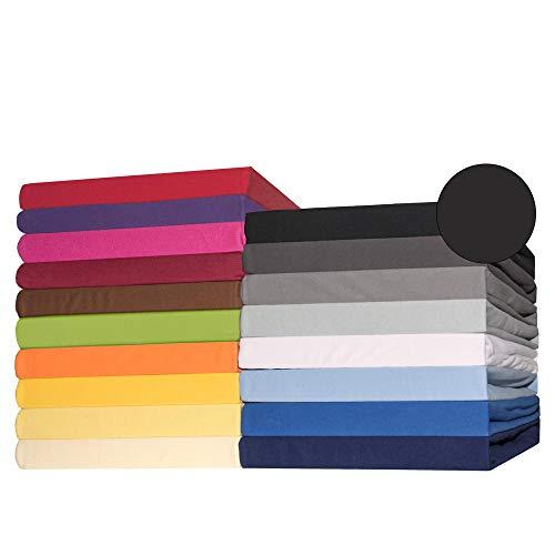 CelinaTex Lucina Topper Spannbettlaken 180x200-200x200 cm schwarz Baumwolle Spannbetttuch