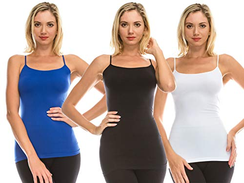 Kurve Women's Camisole Tank Top - 3 Pack Basic Seamless Stretch Spaghetti Strap Cami (Made in USA) L/XL BLK WHT Royal