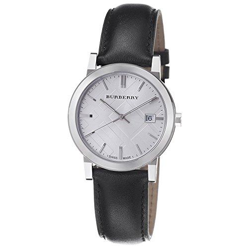 Burberry Reloj grande con correa de cuero negro a cuadros BU9008