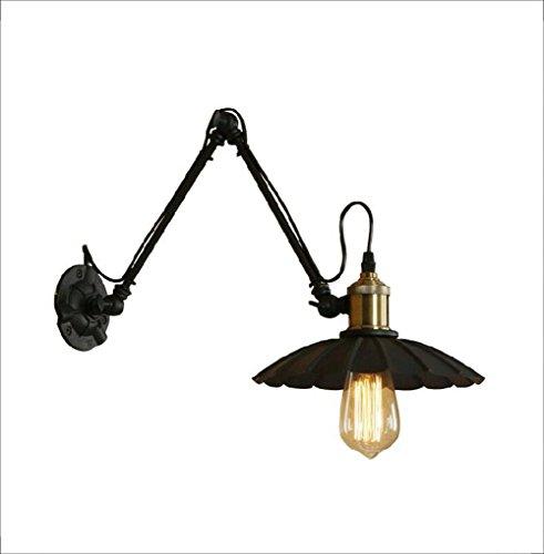 Wandlampen zwarte paraplu creatief LED dubbel deel lange arm verstelbare tuimelhendel E27 zwart modern metaal industrieel lampenkap binnen nachtkastje verlichting bevestiging