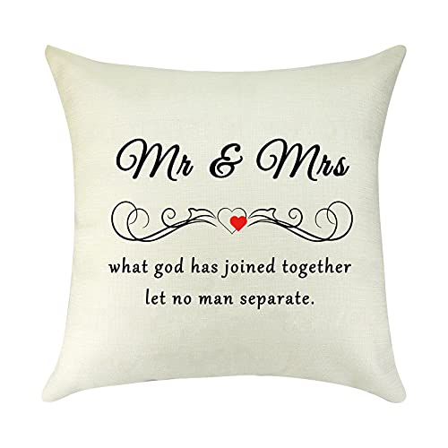 to Wife Husband Gift Mr and Mrs Pillow Cover Wedding Gifts for Bride...