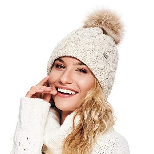 ELIMELI® Damen Winter Mütze warme Strickmütze Wintermütze mit Bommel Slouch Strick Beanie Damen für Winter Bommelmütze Hergestellt in EU Farbenauswahl 15568 (Beige)