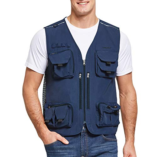 BALEAF Anglerweste Safari-Weste Atmungsaktiv Multi-Tasche Angeln Jacke Herren Damen Blau S