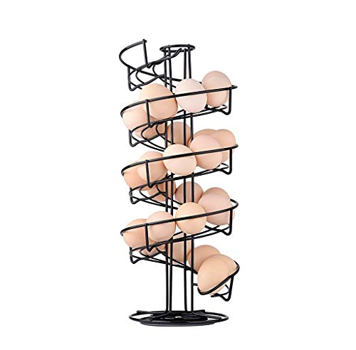 Toplife Spiral Design Metal Egg Skelter Dispenser Rack, Storage Display