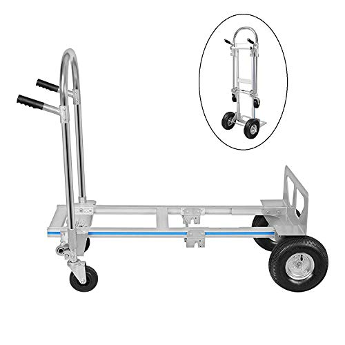 """Hihone 770 Lbs Aluminum Hand Truck, 2 in 1 Heavy Duty Convertible Folding Hand Truck, with 10""""Solid Rubber Wheels, Assisted Hand Truck Flatform Cart"""