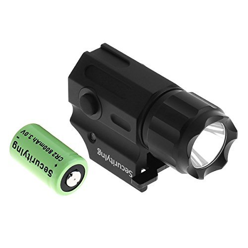 SecurityIng Waterproof Cree LED Tactical Strobe Gun Flashlight, 2-Mode 210LM Handgun Torch Pistol Light with Quick Release Weaver Mount + CR2 3V 800mAh Lithium Battery