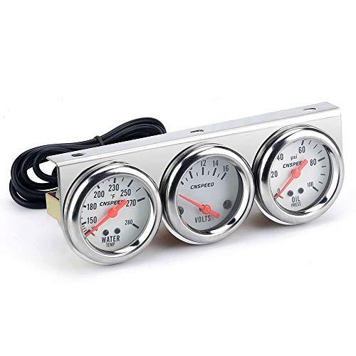 """Dreifaches 3-Gauge-Set,Tickas Universal Car 2"""" 52Mm Chrome Volt Wassertemperaturanzeige Öldruckanzeige Triple 3 Gauge Set Messgeräte Kit"""