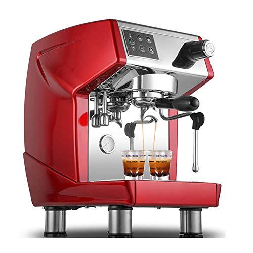 Semi-automatisch koffiezetapparaat in Italiaanse stijl. Professioneel, instelbaar doorstroommes. Lahua-systeembesturing. Koffiezetapparaat met schuimvorming, voor huishoudelijk gebruik. rood