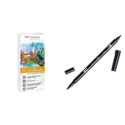 Tombow ABT-12P-2 Fiber Pen Dual Brush Pen con dos puntas Juego de 12 pastel + ABT-N15 - Rotulador permanente doble (1 unidad), color negro