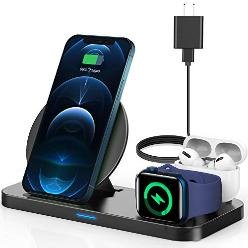 [2020 Latest] Wireless Charger, YEMO 3 in 1 Qi-Certified Wireless Charging Station for AirPods/Apple Watch Series 5/4/3/2/1,Fast Wireless Charging Stand for iPhone 11/11 pro/11 Pro Max/XS Max/XR