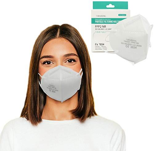 FFP2 Maske 10 STK mit CE Zertifiziert, Partikelfiltrierende Schutzmaske,masken mundschutz 5-Lagig EU Norm EN 149:2001