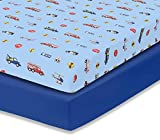 EVERYDAY KIDS 2 Pack Fitted Boys Crib Sheet, 100% Soft...