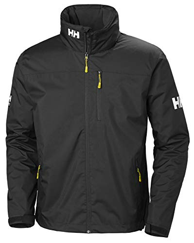 Helly Hansen Crew Hooded Midlayer - Chaqueta Impermeable, Cortavientos y Transpirable, con Forro Polar y Capucha Integrados, Hombre, Negro (990 Black), XL