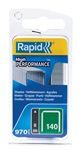 Rapid Tackerklammern Typ 140, 8mm Klammern, 970 Stk., Flachdrahtklammern für Holz und Folien