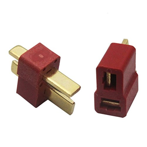 Foxnovo 20 Pairs of Gold-Plated T Plug Connectors Male Female Deans Style for RC Lipo Battery Helicopter Car (Red)