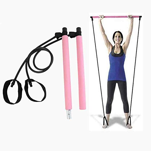 Pilates Bar Kit With Adjustable Resistance Bands Portable Home Gym Equipment x3 Full Body Workout Exercise Band For All Levels Yoga Strength Training on The Go for Women Men Premium Pink and Black
