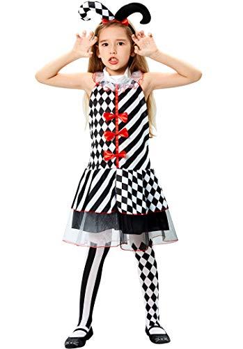 Tacobear Hofnarr Kostüm Kinder Mädchen Halloween Hofnarr Clown Kostüm Outfit mit Stirnband Kleid Strümpfe Kostüm Kinder Karnival Cosplay KinderKostüm für Mädchen Kinder (M(7-8 Jahre))
