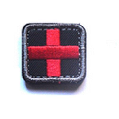 1 parche de bordado 3D de tela táctica, lazo y gancho, bordado 100% completo, mini brazalete de bordado de cruz roja