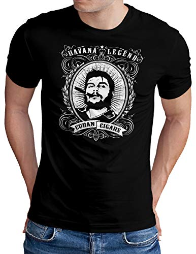 OM3® Havana-Legend T-Shirt | Herren | Cuban Cigars Che Guevara Viva LA Revolution Cuba | Schwarz, XL