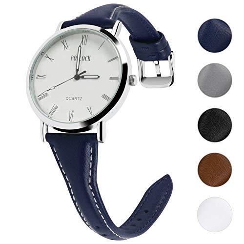 Fullmosa 5 Colors Cinturino Stretto in Pelle per Uomo e Donna 18/20/22mm,Slim Pelle Cinturino di Ricambio con Fibbia Acciaio Inox per Smart Watch,22mm Blu Scuro