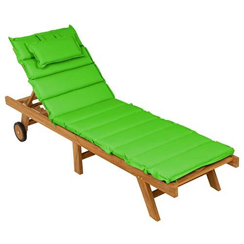 Nexos DIVERO Sonnenliege Holzliege Gartenliege klappbar Teakholz behandelt inkl. Räder Auflage Farbe wählbar (Hellgrün)