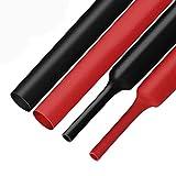XHF 2 Pcs 1-1/4 Inch (30mm) 3:1 Waterproof Polyolefin Heat Shrink Tubing Marine Grade Adhesive Lined Heat Shrink Tube, Insulation Sealing Oil-proof 4 Ft Black&Red