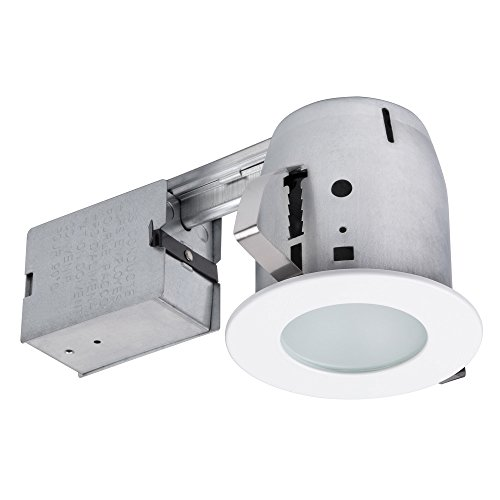 """Globe Electric 4"""" LED IC Rated Flush Round Trim Recessed Lighting Kit, White, Tempered Frosted Glass, Easy Install Push-N-Click Clips, LED Bulb Included, 3.88"""" Hole Size 90741"""