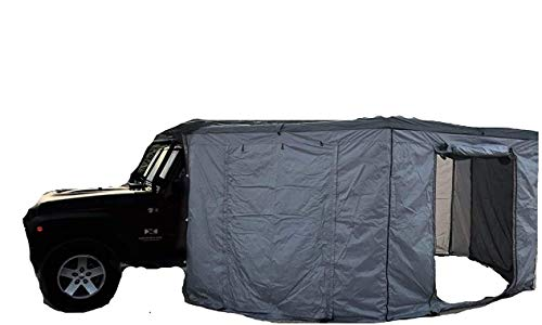 DANCHEL OUTDOOR 270 Sector Car Side Awning Overland for Truck Sun Shelter Camping (Gray, Rad. 6.5ft Left with sidewall)